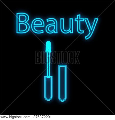 Blue Neon Mascara On A Black Background. Cosmetics For The Eyes, Increases Eyelashes And Emphasizes