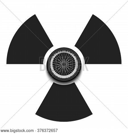 Radiaction Symbol With Bicycle Wheel. Caution Radioactive Danger Sign. Soccer Quarantined. Cancellat