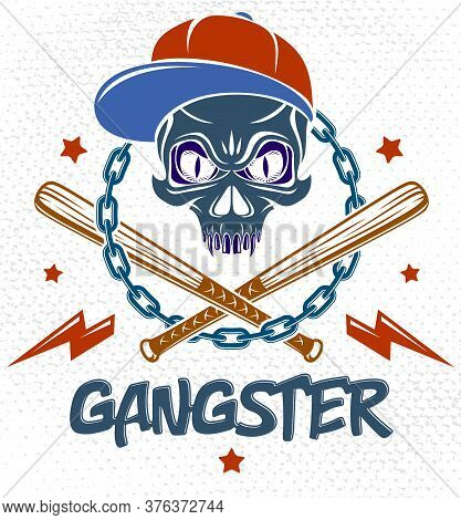 Brutal Gangster Emblem Or Logo With Aggressive Skull Baseball Bats And Other Weapons And Design Elem
