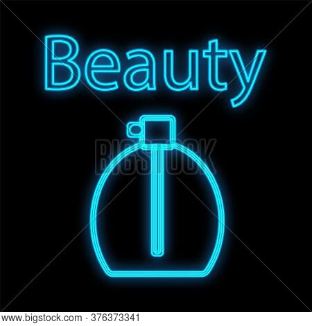 Bottle Filled With Fragrant Sweet Body Perfume. Perfume Of Blue Color, Neon On A Black Background. I