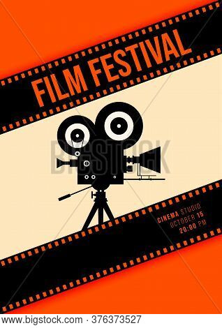 Movie And Film Poster Design Template Background With Vintage Camera And Filmstrip. Design Element C