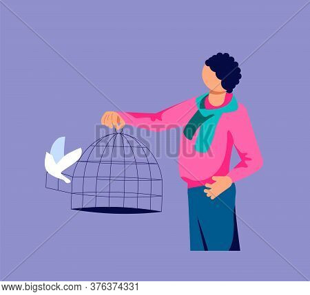 Man Lets Out The Flock Of Bird From A Cage. Freedom And Happiness Metaphor. Isolated On Purple. Flat