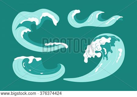 Set Of Sea Or Ocean Waves With Spray, Foam On Crest Design. Abstract Acwamarine Marine Decoration. F