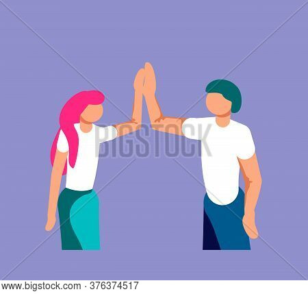 Two Young Entrepreneurs Are Giving High Five For Great Work. Successfully Performed Work Or Deal Met