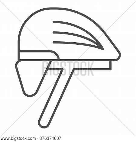 Cyclist Helmet Thin Line Icon, Cyclist Equipment Concept, Bike Protective Hat Sign On White Backgrou