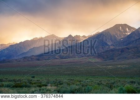 Mountain Range With Clouded Colorful Sunset, Eastern Sierra Nevada Mountains, Mono County, Californi