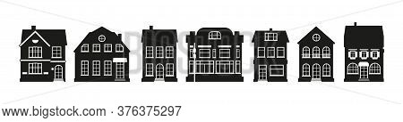Black Urban And Suburban Home Cottage. Glyph Houses Silhouette Amsterdam Set. Graphic Icon Townhouse
