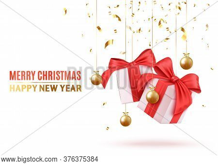 Merry Christmas And Happy New Year. Background With Realistic Festive Gifts Box. White With Red Ribb