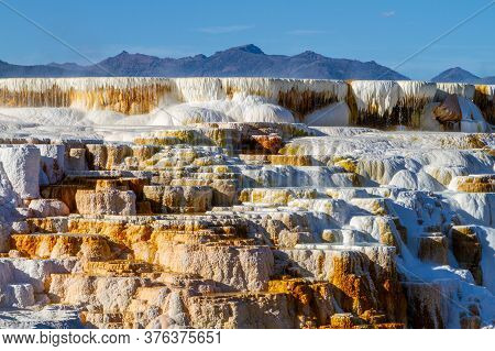 Hot Water Cascades Over The Travertine Terraces Of Canary Spring At Mammoth Hot Springs In Yellowsto