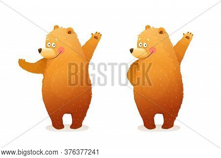 Amusing Bear Animal Character Mascot, Greeting, Waiving Or Showing With Hands. Separate Animal Chara