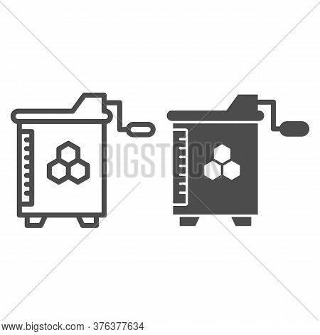 Honey And Wax Extractor Line And Solid Icon, Beekeeping Concept, Manual Honey Extractor Sign On Whit