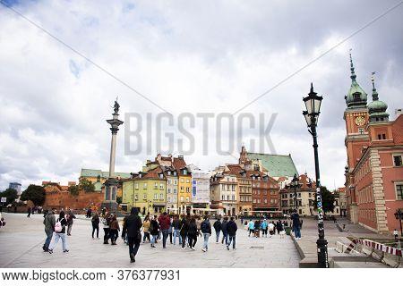Royal Castle And Sigismund's Column Or Kolumna Zygmunta For Polish And Foreign Travelers Walk Travel
