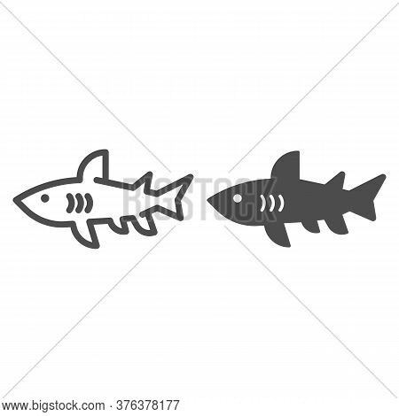 Shark Line And Solid Icon, Marine Concept, Danger Predatory Fish Sign On White Background, Shark Sil