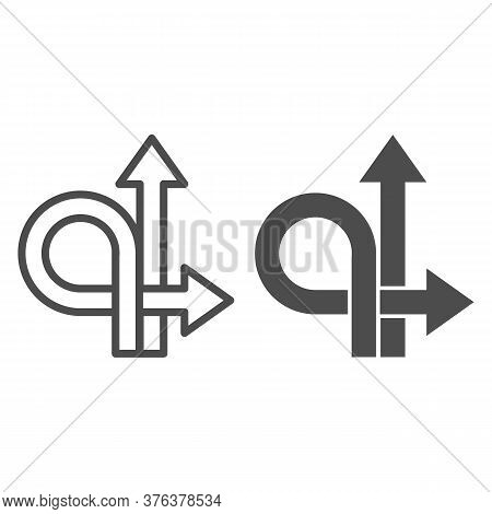 Arrows Straight And Turn Back Line And Solid Icon, Traffic Concept, U-turn Sign On White Background,