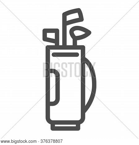 Stick Bag Line Icon, Golf Concept, Golf Clubs In Bag Sign On White Background, Bag For Golf Clubs Ic
