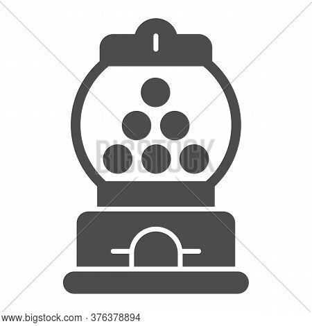 Candy Machine Solid Icon, Amusement Park Concept, Gumball Machine Sign On White Background, Chewing