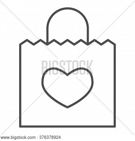 Shopping Bag With Heart Thin Line Icon, Store Concept, Bag For Valentine Day Sign On White Backgroun