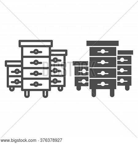 Bee Hives Line And Solid Icon, Beekeeping Concept, Bee Houses Sign On White Background, Hives For Be