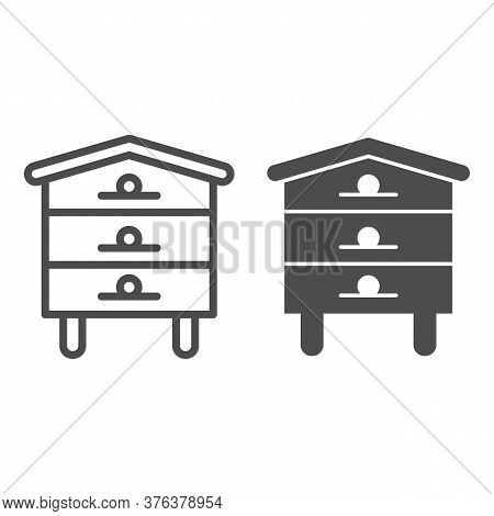 Bee Hive House Line And Solid Icon, Beekeeping Concept, Beehive Sign On White Background, Hive For B