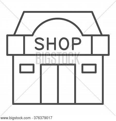 Shop Building Thin Line Icon, Shopping Concept, Store Showcase Sign On White Background, Shop Storef