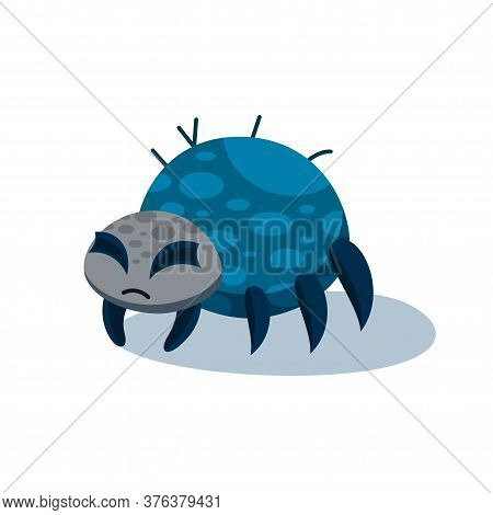 Grumpy Spider Isolated On White Background. Spider Illustration For Halloween Party. Vector Illustra