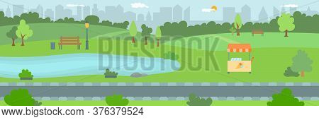 Park Area In The City, Flat Vector Illustration. Town Public Nature Park With Trees, Footpath And A