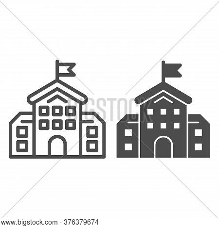 School Building Line And Solid Icon, Education Concept, High School Silhouette Sign On White Backgro