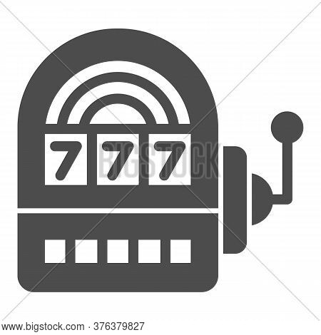 Slot Machine Solid Icon, Entertainment Concept, Casino Symbol On White Background, Lucky Seven On Sl