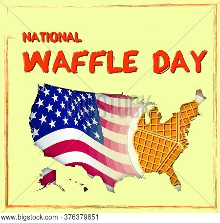National Waffle Day In Usa On August 24th. Round Plate With Delicious Waffles. Vector Illustration F