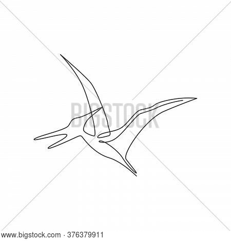 Single Continuous Line Drawing Of Aggressive Flying Pterodactyl For Logo Identity. Prehistoric Anima
