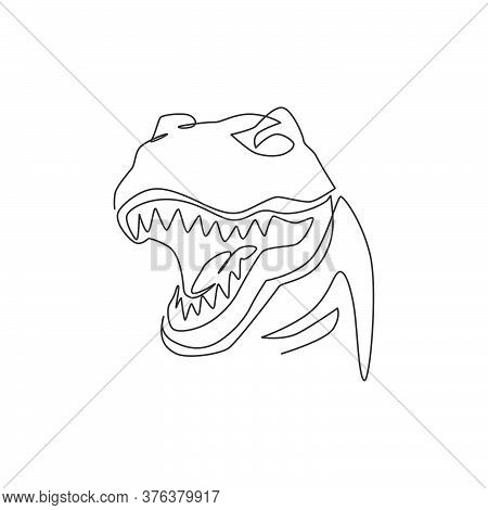 Single Continuous Line Drawing Of Tyrannosaurus Rex Head For Logo Identity. Prehistoric Animal Masco