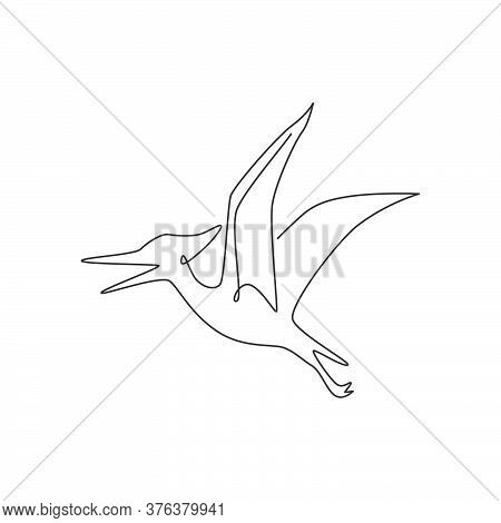 One Continuous Line Drawing Of Aggressive Pterodactyl Prehistory Animal For Logo Identity. Dinosaurs