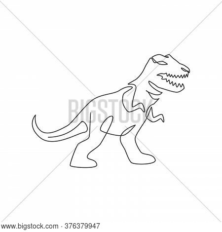 One Continuous Line Drawing Of Aggressive T-rex Prehistory Animal For Logo Identity. Dinosaurs Masco