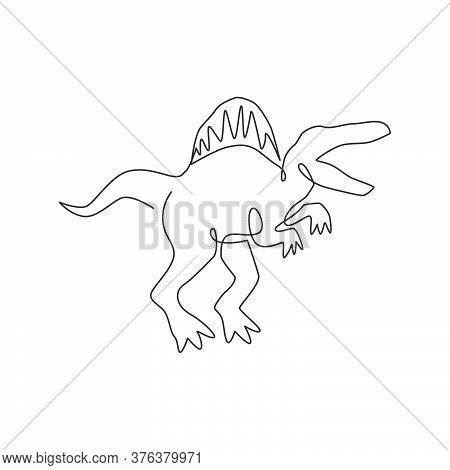 One Continuous Line Drawing Of Aggressive Dinosaurs Animal For Logo Identity. Stegosaurus Mascot Con