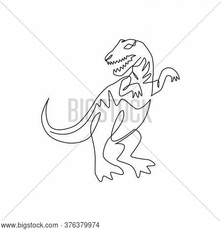 One Single Line Drawing Of Furious Tyrannosaurus Rex For Logo Identity. Dino Animal Mascot Concept F