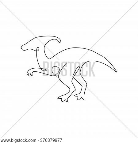 One Single Line Drawing Of Aggressive Parasaurolophus For Logo Identity. Dino Animal Mascot Concept