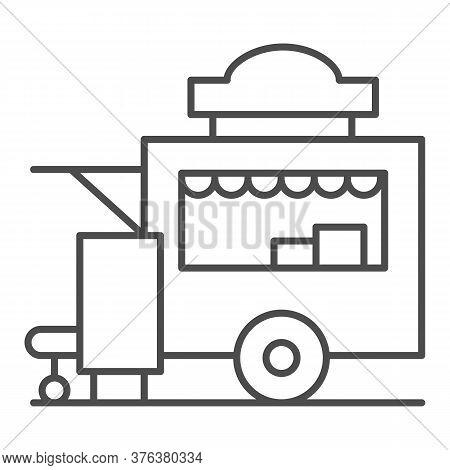 Trailer Kiosk Thin Line Icon, Street Food Concept, Street Kiosk Sign On White Background, Food Trail