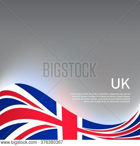 Great Britain Wavy Glowing Flag On A Gray Glossy Background. National Poster Of The United Kingdom.