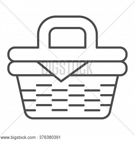 Picnic Basket Thin Line Icon, Summer Time Concept, Wicker Picnic Basket Sign On White Background, Ba