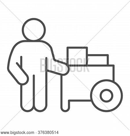 Person With Street Cart Thin Line Icon, Street Food Concept, Hot Dog Shop And Salesman Sign On White
