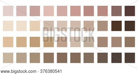 Skin Color Tones Chart. The Texture Of The Palette Of Shades Of The Human Body. Vector Set Of Beige