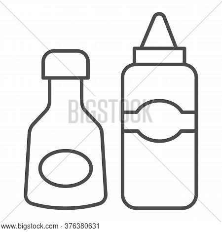 Sauce And Mustard Thin Line Icon, Picnic Concept, Sauce Bottles Sign On White Background, Bottles Of