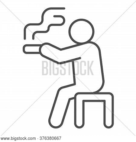 Man Sits On Bench And Smokes Thin Line Icon, Smoking Concept, Smoking Area Sign On White Background,