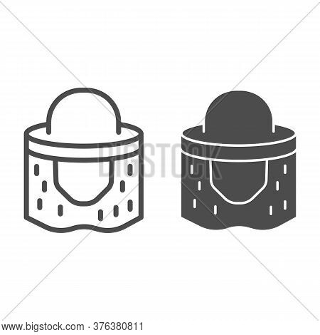 Beekeeper Hat Line And Solid Icon, Beekeeping Concept, Beekeeping Professional Clothing Sign On Whit