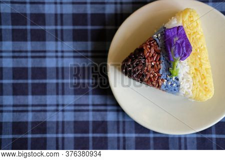 Colorful Rice With Sesame. Brown, Red Riceberry, Yellow Safflower, Blue Butterfly Pea, White Rice