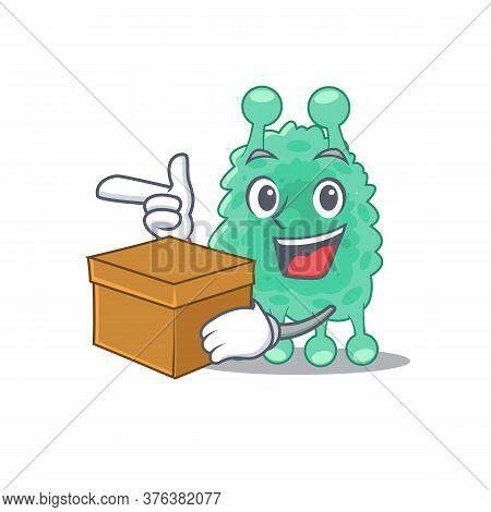 A Cheerful Azotobacter Vinelandii Cartoon Design Concept Having A Box