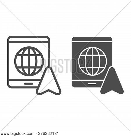 Tablet With Globe And Navigation Pointer Line And Solid Icon, Navigation Concept, Gps Navigator Sign
