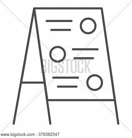 Menu Board Thin Line Icon, Street Food Concept, Sidewalk Restaurant Advert Sign On White Background,