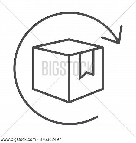 Box With Arrow Thin Line Icon, Logistics Concept, Commodity Turnover Sign On White Background, Retur