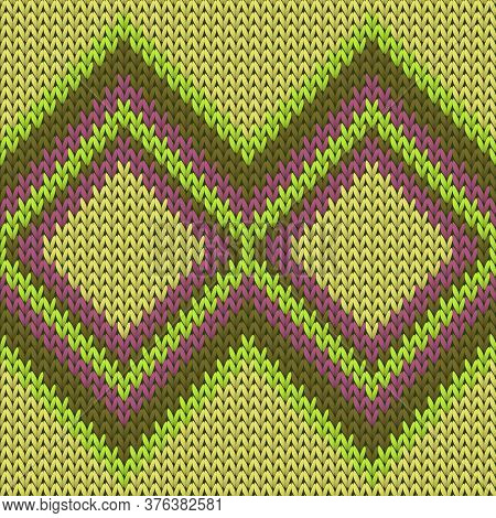 Stylish Rhombus Argyle Christmas Knit Geometric Seamless Pattern. Ugly Sweater Knit Tricot  Fabric P